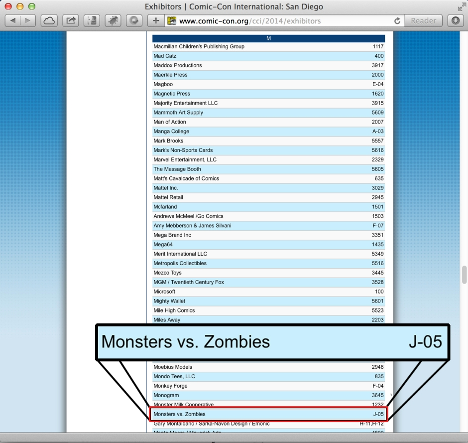 Monsters Vs. Zombies Coming to Comic Con San Diego 2014!